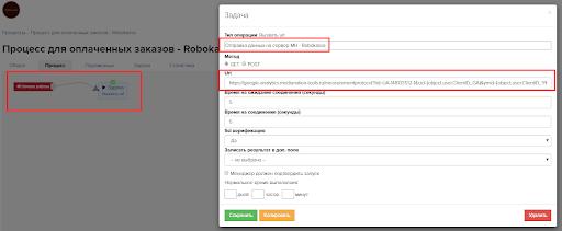 Рис. 6. Визуальное отображение внутреннего функционала «Процессов» (правил передачи данных) с указанием сайта, на который будут отправляться данные из CRM