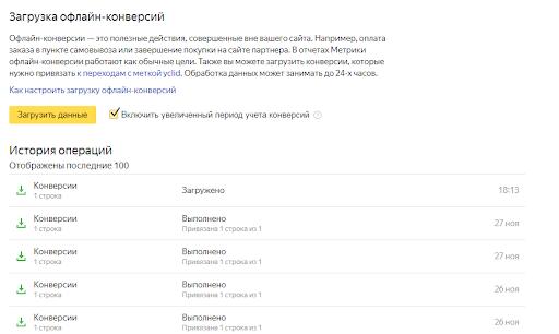 Рис. 8. Отчет Яндекс.Метрики о факте передачи данных по конверсиям (транзакциям) и их ценность (доход)